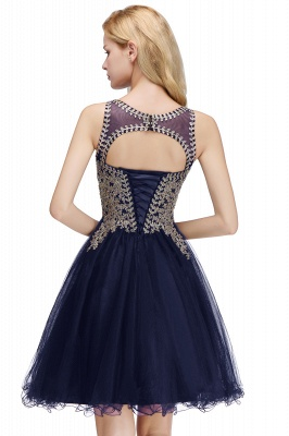 Cute Crew Neck Open Back Beaded Lace Appliques Homecoming Dresses_24