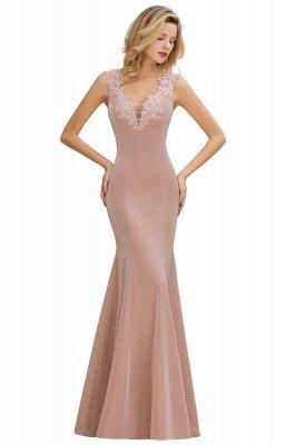 Glittery Deep V-neck Sleeveless Pink Floor-length Long Evening Dresses_10