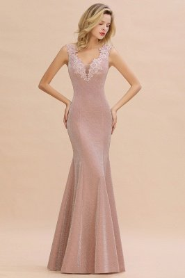 Glittery Deep V-neck Sleeveless Pink Floor-length Long Evening Dresses