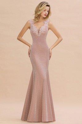 Glittery Deep V-neck Sleeveless Pink Floor-length Long Evening Dresses_1