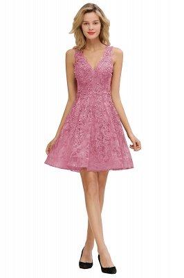 Princess V-neck Knee Length Lace Appliques Homecoming Dresses_2