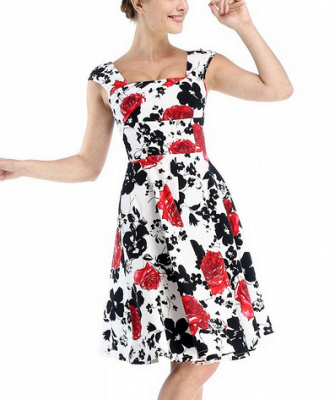 Fascinating Square A-line Knee-Length Floral Dresses   Cap-Sleeves Women's Dresses_3