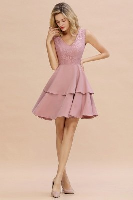 Lovely V-neck V-back Knee Length Ruffle Homecoming Dresses_15