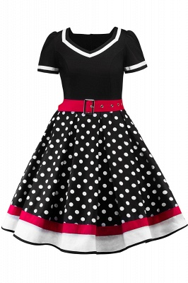 Fascinating A-line Belted Short Sleeve Jewel Polk-Dot Women's Dresses | Knee-Length Fashion Dress