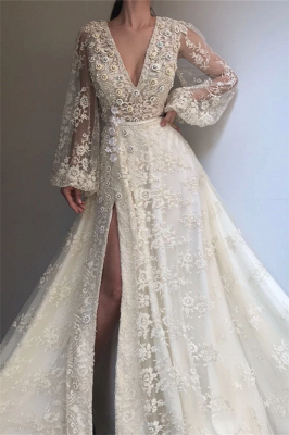 Exquisite Tulle Lace Beading Long Sleeves Prom Dress   Sexy V Neck Beading Slit Prom Dress_1