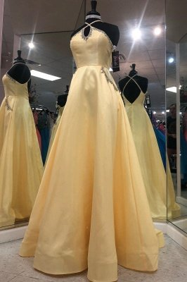 A-line Keyhole Floor Length Criss-Cross Straps Prom Dress | Yellow Prom Gown with Beading