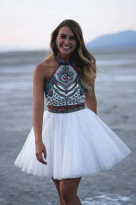 Chic Two Pieces Halter Homecoming Dress   Stylish Appliques Beading Short Cocktail Dress_1