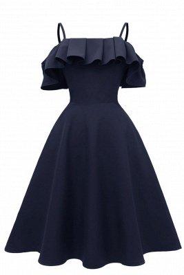 Lovely Spaghetti Straps Cascading Ruffles Vintage Short Dresses_2