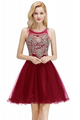 Cheap A-line Tulle Lace Homecoming Dress with Beadings in Stock_1