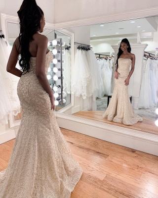 Charming Strapless Beaded Mermaid Wedding Dress | Affordable Sleeveless Long Bridal Dress_3