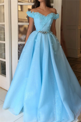 Sparkle Sequins Off the Shoulder Prom Dress | Charming Sweetheart Sleeveless Beading Long Prom Dress_1