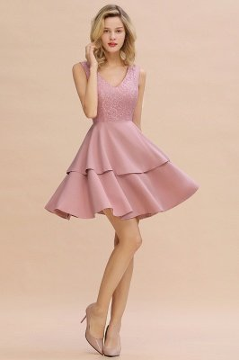 Lovely V-neck V-back Knee Length Ruffle Homecoming Dresses_13