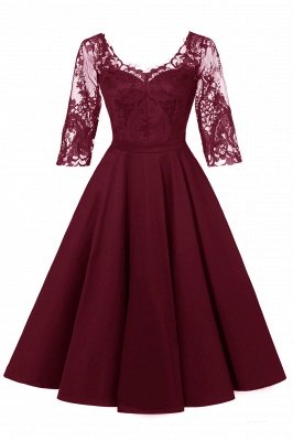 Stunning A-line Retro Scoop Neck V-back Ruffles Burgundy Lace Party Dresses_1