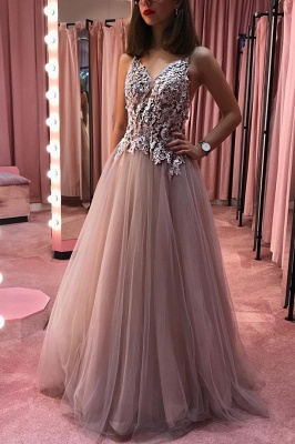 A-line V-neck Floor Length Prom Dress with Appliques | Sexy See Through Bodice Prom Gown