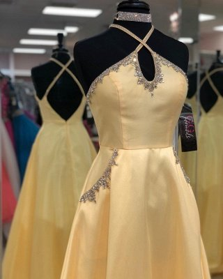 A-line Keyhole Floor Length Criss-Cross Straps Prom Dress | Yellow Prom Gown with Beading_2