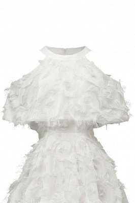 High neck Gorgeous Crew Neck Artificial Feather Dress Burgundy Short Dresses_17