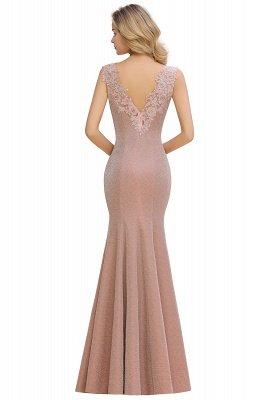 Glittery Deep V-neck Sleeveless Pink Floor-length Long Evening Dresses_8