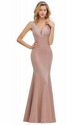 Glittery Deep V-neck Sleeveless Pink Floor-length Long Evening Dresses_12