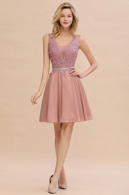 Cute Deep V-neck Knee Length Belt Beaded Short Homecoming Dresses_1