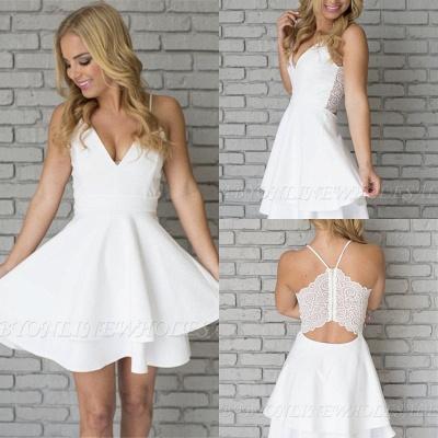White Homecoming Dresses Spaghettis Straps Layers Skirt A-line Short Prom Dresses_2