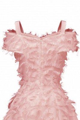 Artificial Fur Cap Sleeve Princess Short Homecoming Dress_11