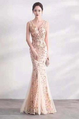 Cheap V-neck Long Prom Dresses | Sleeveless Floor Length A-line Evening Dresses