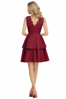 Lovely V-neck V-back Knee Length Ruffle Homecoming Dresses_12