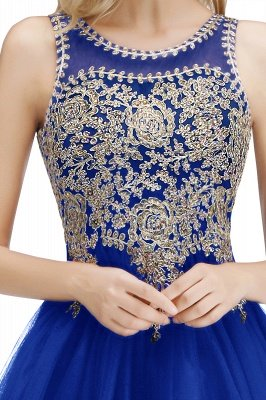 Cute Crew Neck Open Back Beaded Lace Appliques Homecoming Dresses_19