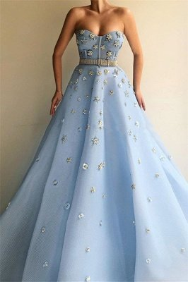 Stylish Strapless Sweetheart Beading Flowers Prom Dress | Chic Blue Tulle Long Cheap Prom Dress with Beadning Sash_1