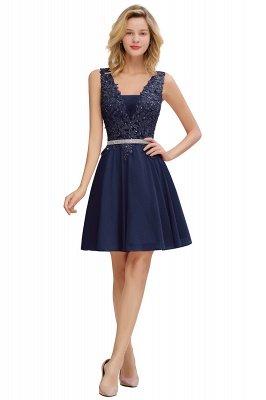 Cute Deep V-neck Knee Length Belt Beaded Short Homecoming Dresses_3