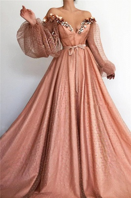 Sexy Off the Shoulder V Neck Long Prom Dress | Chich Tulle Beading Long Sleeves Prom Dress_1