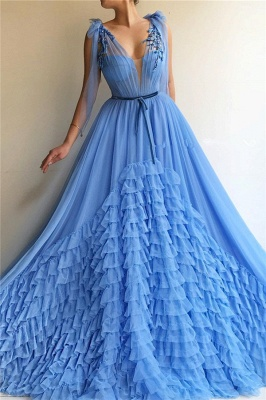 Sexy Tulle Deep V Neck Blue Prom Dress | Chic Sleeveless Layers Long Prom Dress with Sash_1