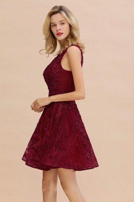 Princess V-neck Knee Length Lace Appliques Homecoming Dresses_7