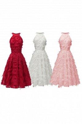 Gorgeous A-line Burgundy Halter Feather Princess Vintage Short Dresses_16
