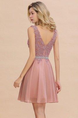 Cute Deep V-neck Knee Length Belt Beaded Short Homecoming Dresses_16