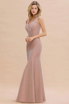 Glittery Deep V-neck Sleeveless Pink Floor-length Long Evening Dresses_14