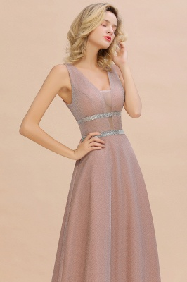 Gorgeous Sleeveless V-back Pink Deep V-neck Long Evening Dresses_10