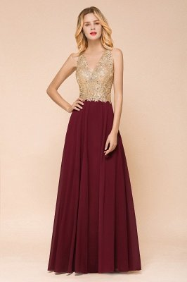 Cheap Chiffon Appliques Long Prom Dress | Affordable Floor Length A-line Evening Dresses