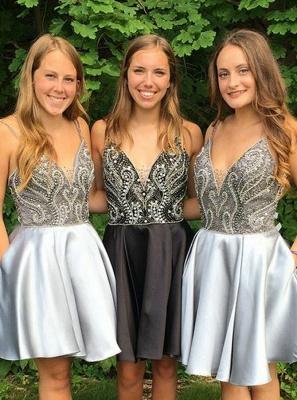Sexy Straps V-Neck Cocktail Dresses | Sleeveless Beaded Homecoming Dresses_3