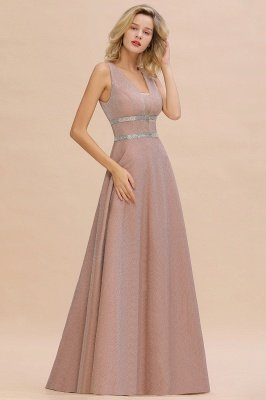 Gorgeous Sleeveless V-back Pink Deep V-neck Long Evening Dresses_9