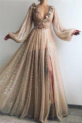 Sparkle Sequins Long Sleeves Prom Dress | Sexy V Neck Front Slit Long Prom Dress_1