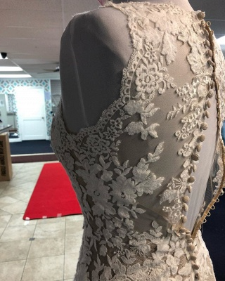 Beautiful Lace Mermaid Cheap Wedding Dresses_3