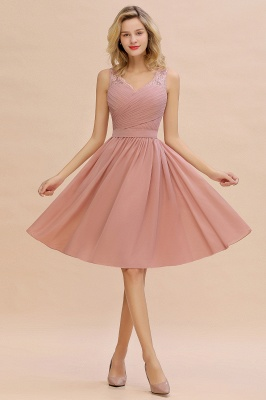 A-line V-neck Knee Length Homecoming Dress | Dusty Rose Chiffon Party Dress with Pleats