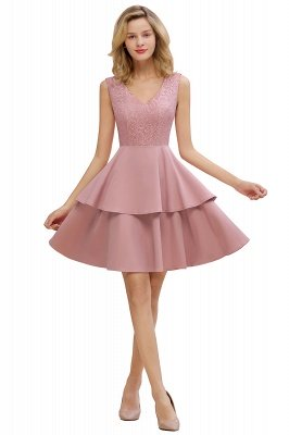 Lovely V-neck V-back Knee Length Ruffle Homecoming Dresses_7