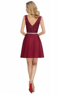 Cute Deep V-neck Knee Length Belt Beaded Short Homecoming Dresses_10