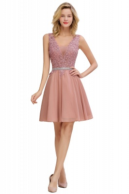 Cute Deep V-neck Knee Length Belt Beaded Short Homecoming Dresses_7