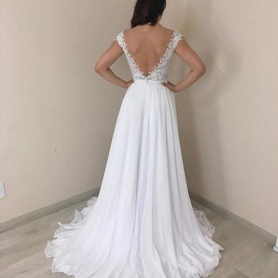 Alluring Off the Shoulder Cap Sleeves A-line Wedding Dresses_2