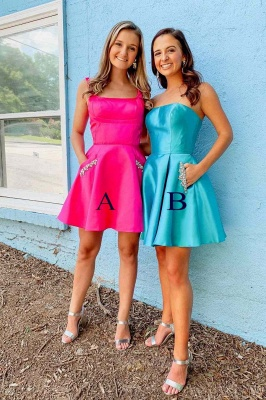 A-line Strapless Short Homecoming Dress | Satin Short Dress for Back to School with Pockets and Rhinestones