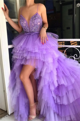 Hi-Lo Deep V Neck Sleeveless Prom Dress | Spaghgtti Straps Appliques Prom Dress_1
