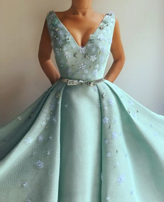 Exquisite Sequins V Neck Sleeveless Prom Dress | Chic Flowers Pearls Long Prom Dress with Beading Sash_2